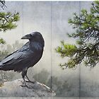 pine rock raven silver leaf panel by R Christopher  Vest