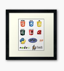 web developer programming language set Framed Print
