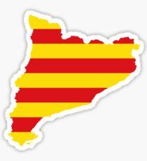 Flag Map of Catalonia Sticker
