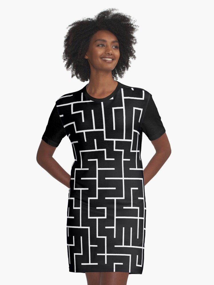 A-MAZE-ING!  White, Black, Maze, Lost, Found, Where's the Cheese? Graphic T-Shirt Dress Front