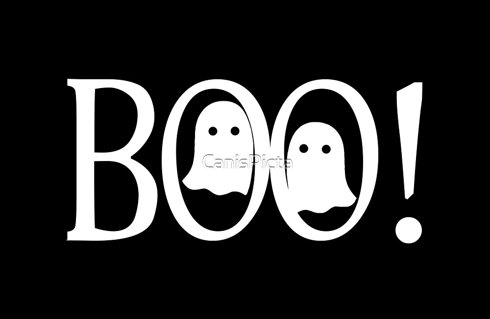 """""""Boo!"""" - Halloween, Ghosts, Black, All Hallows Eve, Simple, Contemporary by CanisPicta"""