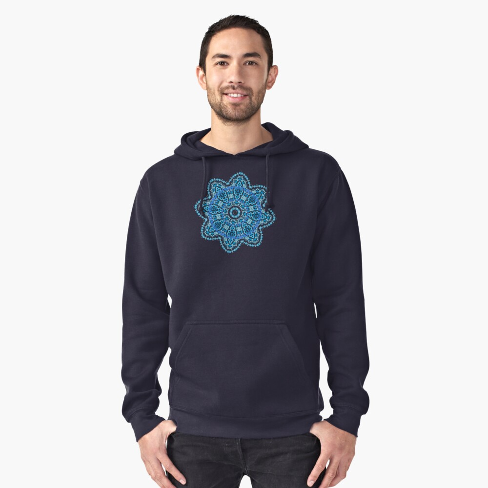 Mandala - light blue flower burst Pullover Hoodie Front