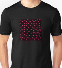 Red Hearts on black Unisex T-Shirt