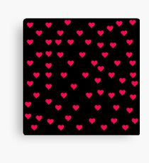 Red Hearts on black Canvas Print