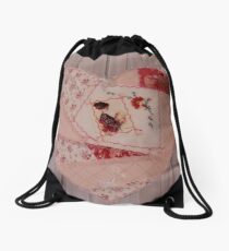 Reading the letter - emboidered patchwork heart. Drawstring Bag