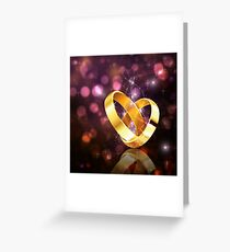 Romantic background with wedding rings 5 Greeting Card