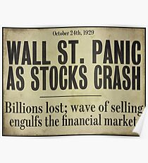 1929 Wall Street Stock Market Crash Poster