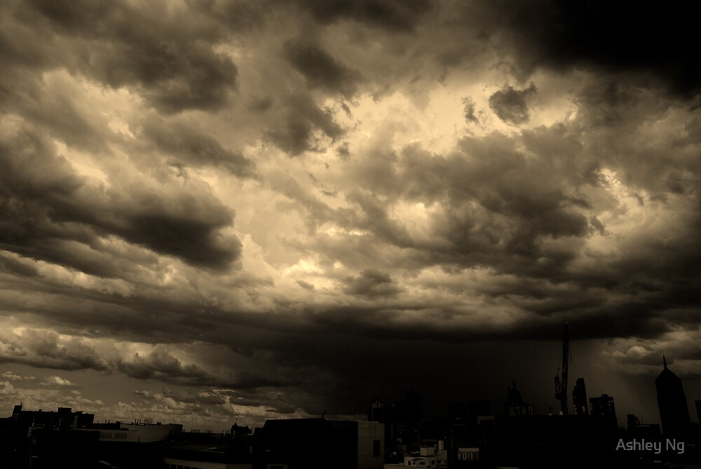 Black rain falls on a young city by Ashley Ng