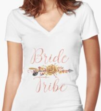 Bride Tribe Rose Gold Floral Arrow Women's Fitted V-Neck T-Shirt