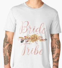 Bride Tribe Rose Gold Floral Arrow Men's Premium T-Shirt