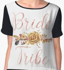 Bride Tribe Rose Gold Floral Arrow Women's Chiffon Top