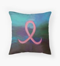 Supportive Pink Breast Cancer Awareness Ribbon on Jewel Tone Background Throw Pillow