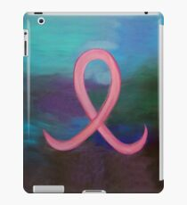 Supportive Pink Breast Cancer Awareness Ribbon on Jewel Tone Background iPad Case/Skin