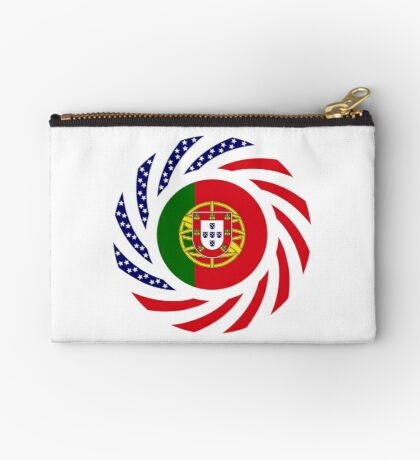 Portuguese American Multinational Patriot Flag Series Zipper Pouch
