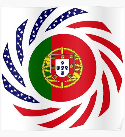 Portuguese American Multinational Patriot Flag Series Poster
