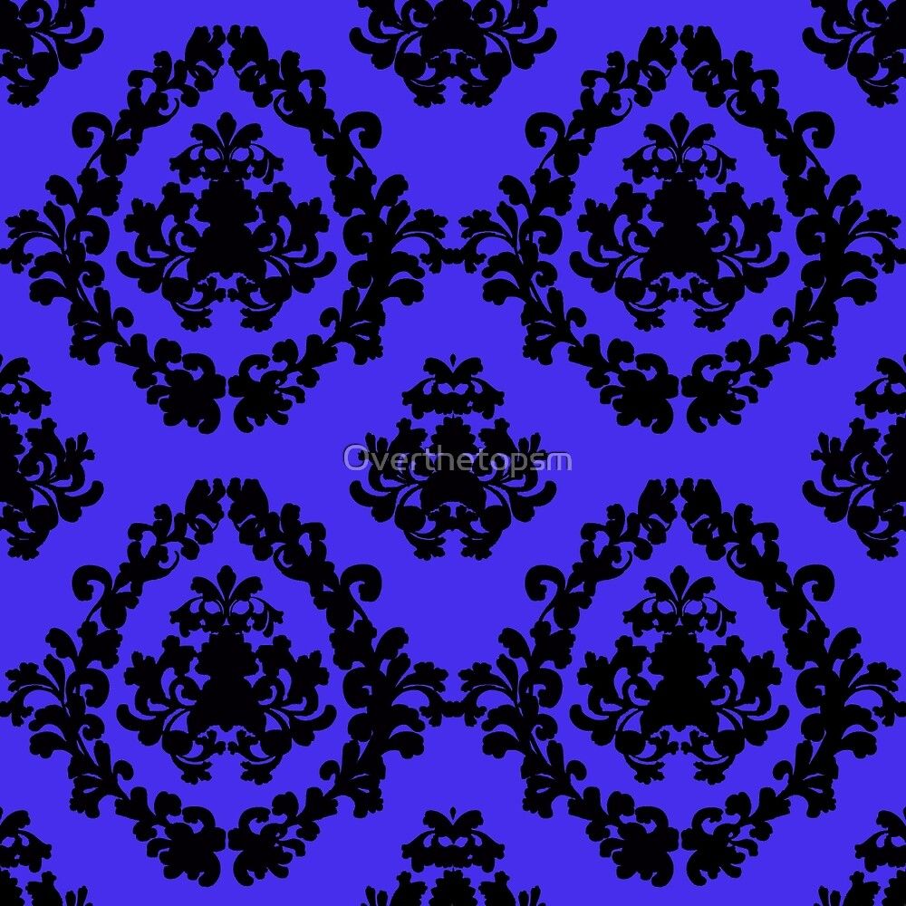 Victorian Damask Black and Blue by Saundra Myles