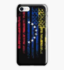 Venezuela and America Flag Combo Distressed Design iPhone Case/Skin