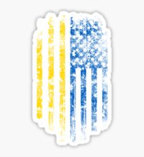 Ukraine and America Flag Combo Distressed Design Sticker