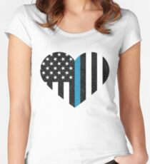 Thin Blue Line Flag Women's Fitted Scoop T-Shirt