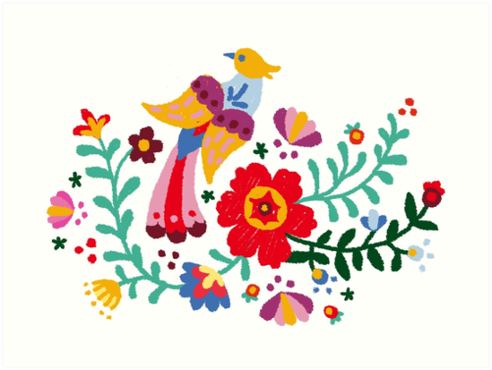 Rbstaycay Painted Mexican Floral Embroidery Art Prints By
