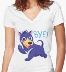 Bye dog shirt pixel distortion Women's Fitted V-Neck T-Shirt