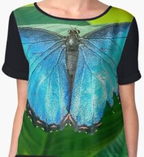 Blue morpho butterfly perched on a leaf Women's Chiffon Top