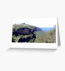 A view of the Three Sisters and Katoomba Falls from the Furber Stairs. Greeting Card