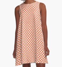 Coral Rose Polka Dots A-Line Dress