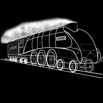 My vector line-art white on black drawing of the Mallard Steam Locomotive 1938 by ZipaC