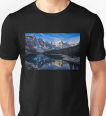 Reflections in the morning at lake Moraine Unisex T-Shirt