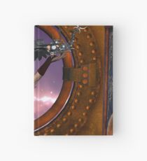Wonderful steampunk lady with steam dragon Hardcover Journal
