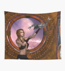 Wonderful steampunk lady with steam dragon Wall Tapestry