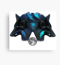 Wolf twins and moon Canvas Print