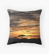 Sunset over Amboseli Park Throw Pillow
