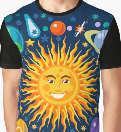Funny Solar System Isometric Graphic T-Shirt