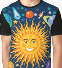 Solar System smiling sun universe Graphic T-Shirt