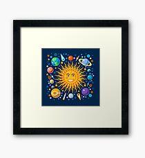 Solar System smiling sun universe Framed Print