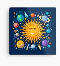 Solar System smiling sun universe Metal Print