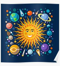 Solar System smiling sun universe Poster