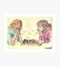 Playing Chess in the Grass Art Print