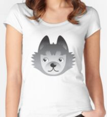 Husky dog cute face Women's Fitted Scoop T-Shirt