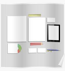 Colorful Illustration with Office Supplies on a Gray Background for your Design. Poster