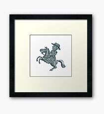 American Cavalry Officer Riding Horse Prancing Cartoon Framed Print