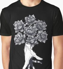Hand with lotuses on black Graphic T-Shirt