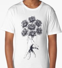 Hand with lotuses on black Long T-Shirt