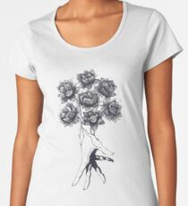 Hand with lotuses on black Women's Premium T-Shirt