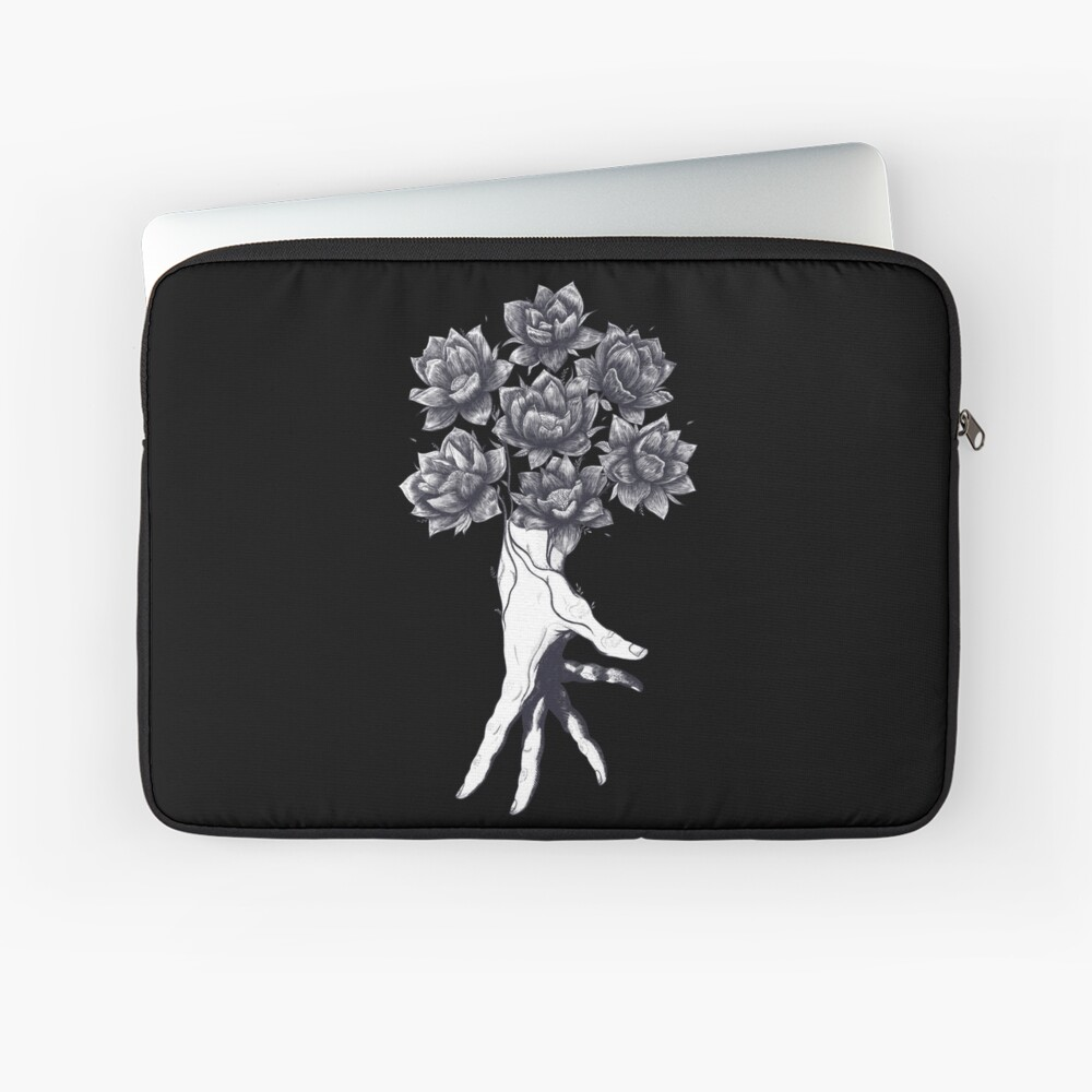 Hand with lotuses on black Laptop Sleeve