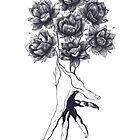 Hand with lotuses on black by Valeriya Korenkova