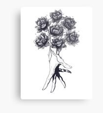 Hand with lotuses on black Metal Print