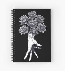 Hand with lotuses on black Spiral Notebook